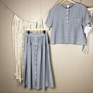 Vintage two piece dash button up skirt shirt med